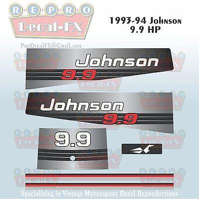 1989-90 Johnson 15 HP Outboard Reproduction 9 Pc Marine Vinyl Decal Sea-Horse
