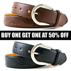 Men-039-s-Genuine-Leather-Metal-Buckle-Jean-Casual-Dress-Belt-Black-Brown-M-L-XL