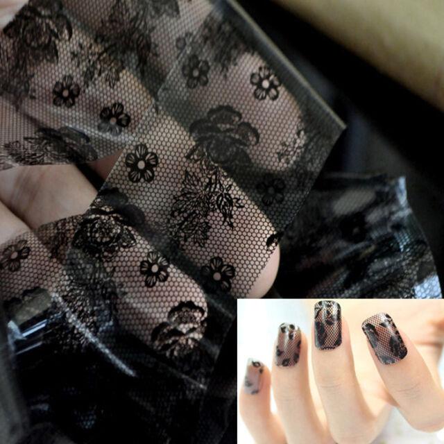 Vogue 3D Black Lace Flower Transfer Foil Stickers Decals Nail Art Decoration DIY
