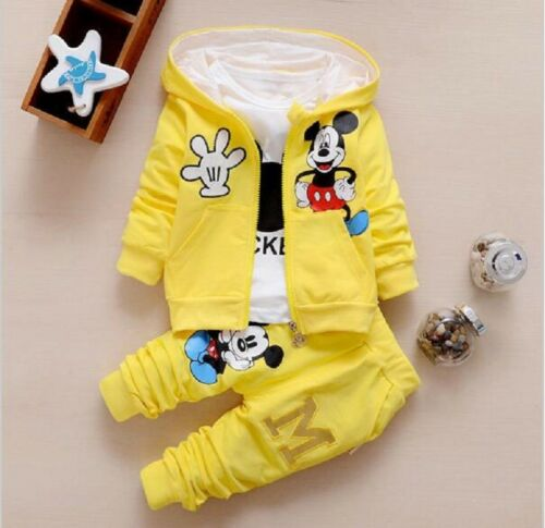 New Children Girls Boys Fashion Clothing Sets 3 Piece Suit Hooded Coat Clothes
