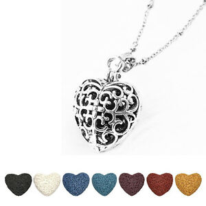 Cylinder Shape Diffuser Pendant Hearts Essentials Oils Locket Aromatherapy Necklace New