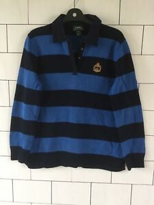 MENS-BLUE-STRIPE-RALPH-LAUREN-URBAN-VINTAGE-RETRO-JUMPER-PULLOVER-SIZE-MEDIUM