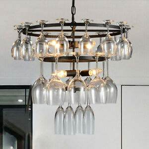 glass wine cup chandeliers ceiling lamp light fixture bar