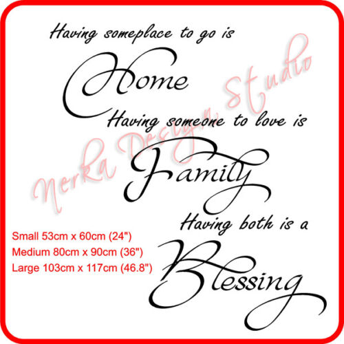 Home Family Blessing WALL STICKER  wall quote Great Gift  XXL size available S41