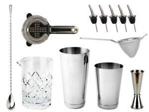 NEW-Bartender-039-s-Bar-Kit-with-Boston-Cocktail-Shaker-amp-Toby-Tin-Bar-Set-Drinks