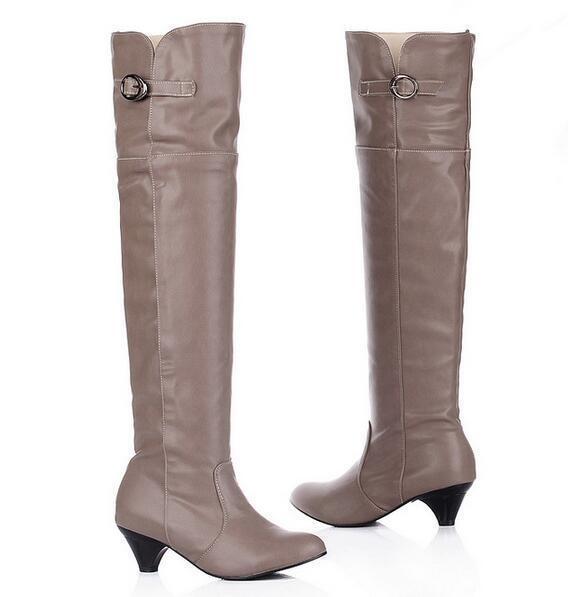 botas muslo mujer talón 5 cm como beige elegantes cómodo caldi como cm piel 9400 eedd2e