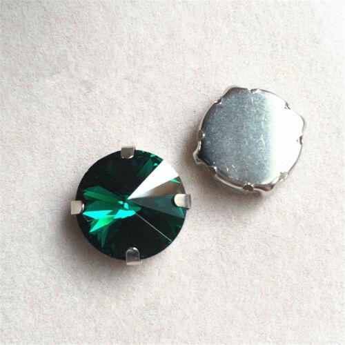 36pcs 16mm Sew On round foiled rhinestone crystal cut glass dress making diy