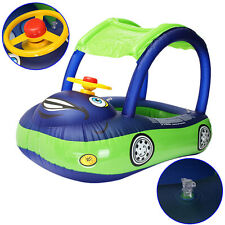 Sunshade Baby Float Seat Car Boat Inflatable Swim Ring Pool Water Fun Blue Green