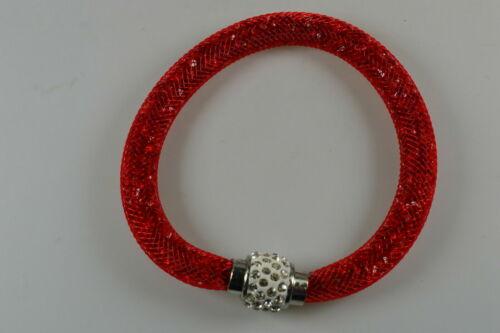 35-0014 Nylon-Mesh pulsera con pedrería rojo
