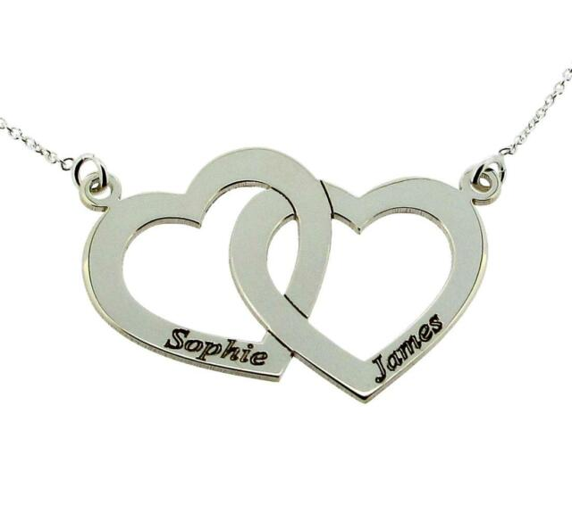 STERLING SILVER JEWELLERY PERSONALISED DOUBLE HEART PENDANT CHAIN VALENTINE GIFT