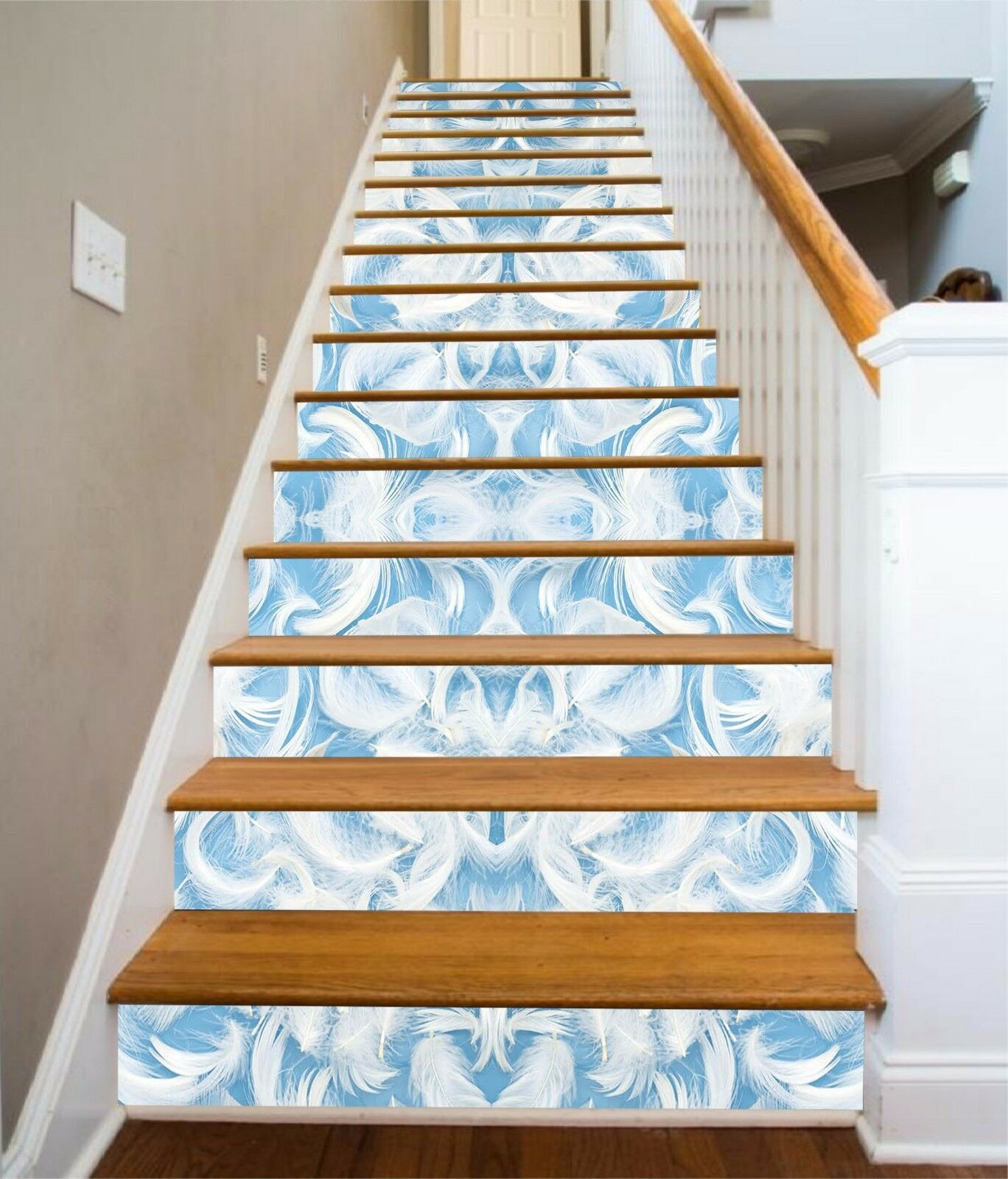 3D bianca Feathers 5 Stair Risers Decoration Photo Mural Vinyl Decal Wallpaper AU