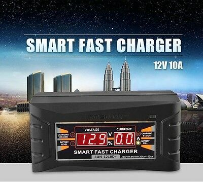 12V 10A Smart Car Motorcycle Lead-acid Battery Charger LCD Display EU/US Plug