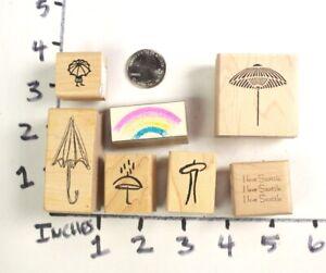 Wooden-RUBBER-STAMP-Block-Lot-Seattle-Space-Needle-Rain-Rainbow-Umbrella