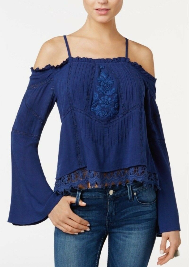 NEW GUESS Women's Rye Embroidered Drop Shoulder Peasant Top Size XL bluee