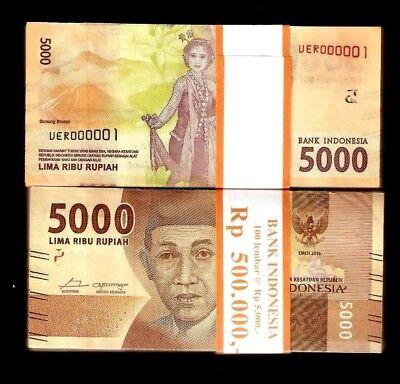 UNC Indonesia Set 7 PCS paper money 2016 1000-5000-100000 Rupiah AAA Prefix