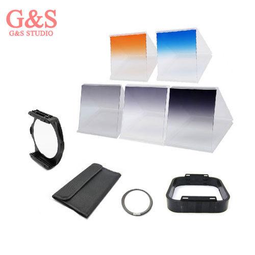 6 filter kit Gradual ND2 ND4 ND8 Orange Blue/ 82mm ring adapter f Cokin p series