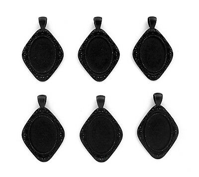 6 Goth Punk Emo Black VERSAILLES style 25mm x 18mm CAMEO PENDANTS Frame Settings