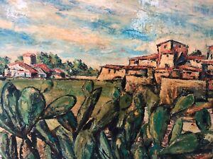 🔥 Antique Mid Century Modern Impressionist Landscape Oil Painting, 1960s