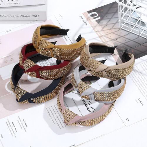 Ladies Tie Headband Knot Hairband Crystal Alice Hair Band Accessories Wide Hoop
