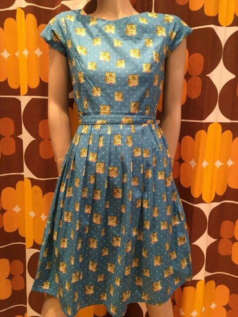 WOMENS RUN & FLY Retro Vintage 50's style tea dress with cat & polka dot print