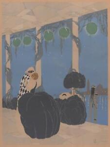 Bal-Danse-a-Venise-Harlequin-Serigraphie-Originale-1920-Max-Ninon-Accornero-COA