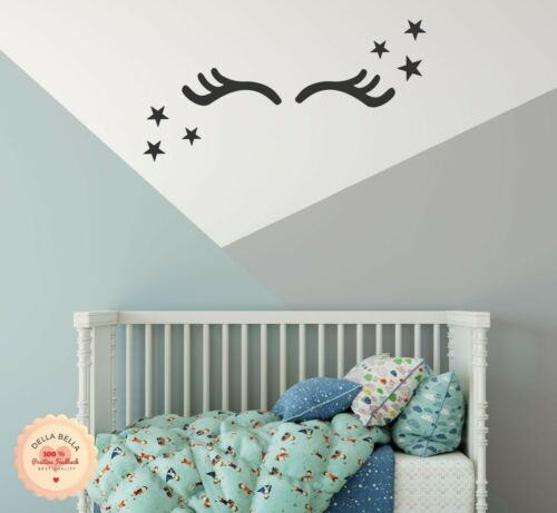 Unicorn Eyelashes and Stars Wall Decal Stickers Ideal for Kids Bedrooms Playroom