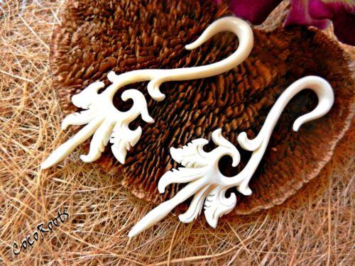 Ear Gauge Tunnel Plug Horn Wood Bone Hook Unique Carve Stretcher Tribal Piercing