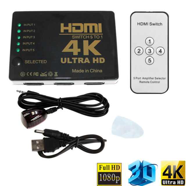 Orei HD-501X 5x1 5-Port HDMI Powerless Switcher for Full HD 1080P and 3D Support Remote Control