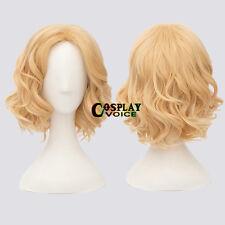 Lolita Light Blonde Curly Short Anime Women Girls Heat Resistant Cosplay Wig+Cap