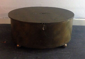 vintage antique footed cast iron brass plated oval cash ballot bank box metal