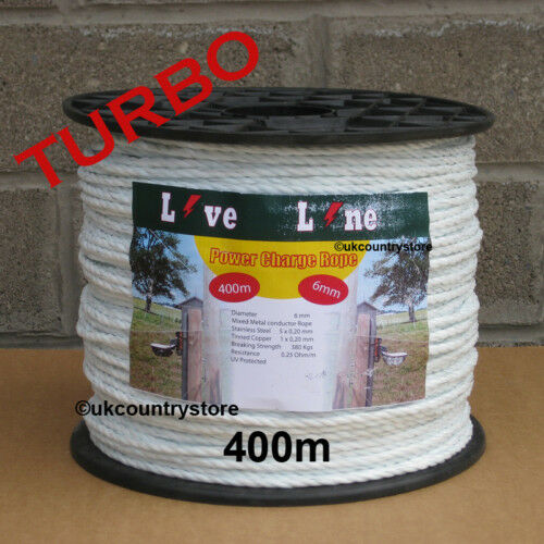 White Power Charge Electric Fence Rope 400m - Horse Fencing Turbo Rope