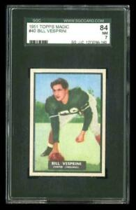 Rare 1951 Topps Magic #40 Bill Vesprini Football Card SGC 84 / 7 NM