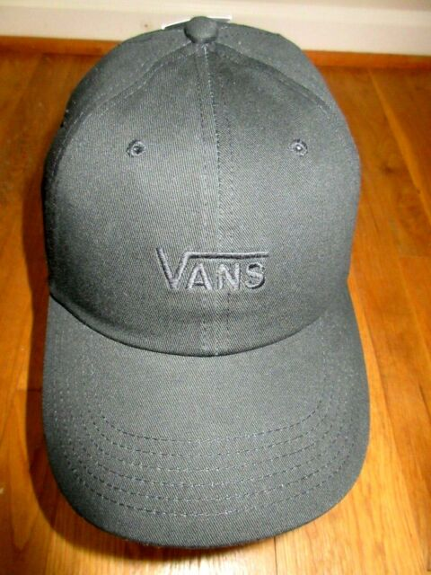 89fc133b700 Vans Mens Court Side Embroidered Logo Strap back Baseball Cap Hat Black NWT