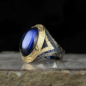 AAA-Quality-925-Sterling-Silver-Jewelry-Sapphire-Men-039-s-Ring