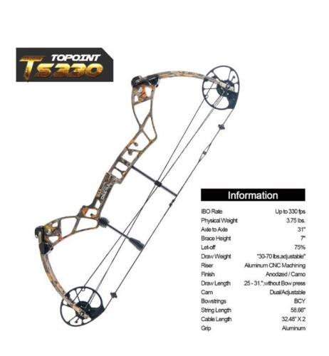 TOPOINT TS330 3070LB COMPOUND BOW & ARROW HUNTING TARGET ARCHERY 330FPS