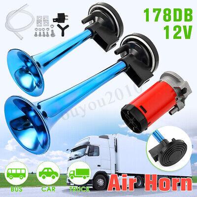 178DB Super-Loud Blue 12V Air Horn Dual Trumpet Compressor Car Truck Train Boat