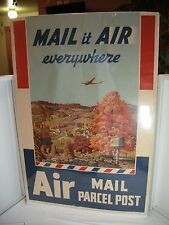 """Rare 1940's US Postal   """"MAIL it AIR everywhere Air MAIL PARCEL POST""""  Poster"""