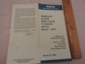 RARE 1963 New York City New Jersey PATH H&M Black Car repair flier Hudson Tubes