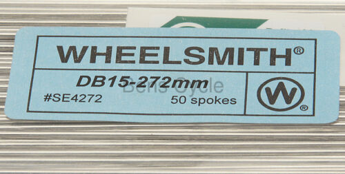 Wheelsmith DB15 Spokes Double Butted 272mm 15g 1.8//1.5//1.8 Lot of 10 Silver NEW