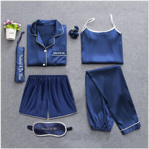 Women s 7 pieces Pajamas Sets Satin Silk Lingerie Homewear Sleepwear ... 21385ae52