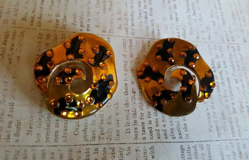 Vintage Retro 1980's SIGNED DESIGNER DON-LIN Enamel Rhinestones Earrings Leopard