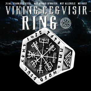 Men/'s Ring Finger Stainless Steel Nordic Viking Rune Wolf Bear Odin Celts Amulet