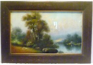 ANTIQUE-DARK-FUMED-OAK-Wall-26-034-X-17-034-FRAME-w-Chalk-Painting
