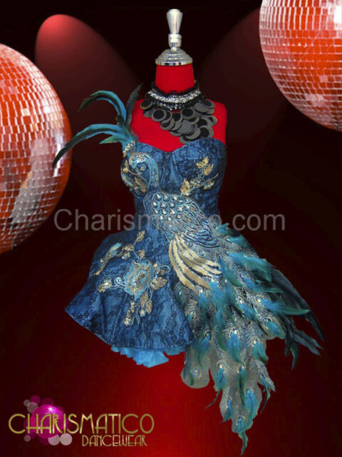 CHARISMATICO Silver and aqua beaded peacock appliqué blue lace dolly dress