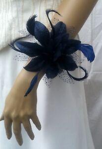 New-Navy-Blue-Flower-Wrist-Corsage-Wedding-Bride-Bridesmaid-Flower-girls-Proms