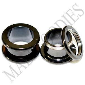1467-Screw-on-fit-Black-1-2-034-Inch-12-7mm-Flesh-Tunnels-Ear-Plugs-Earlets-Steel