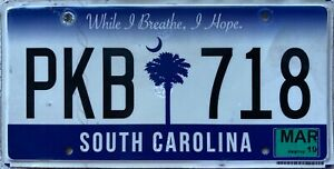 GENUINE-American-South-Carolina-Palm-Tree-USA-License-Number-Plate-Tag-PKB-718