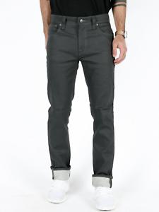 NUDIE Homme Slim Fit Stretch Jeans Pantalon | Thin Finn Dry Grey pelliculés | w31 l32