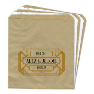 Image Is Loading Personalised Wedding Sweet Bags Art Deco 1920s Gold