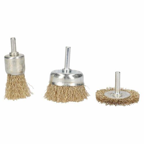 3pc Rotary Brass Coated Steel Wire Brush Set Metal Polishing Cup Wheel Flat